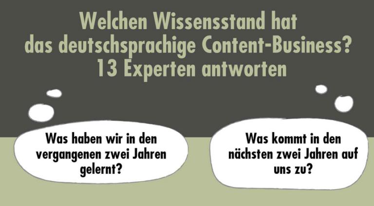 Welchen Wissensstand hat das deutschsprachige Content-Business?