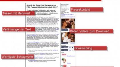 In seinem Newsroom führt Coca-Cola alle multimedialen Informationen zusammen, die für die Unternehmenskommunikation relevant sind.